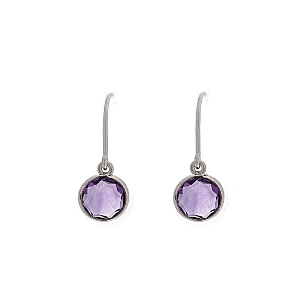 Como Collection 6mm Round Amethyst Sterling Silver Earrings