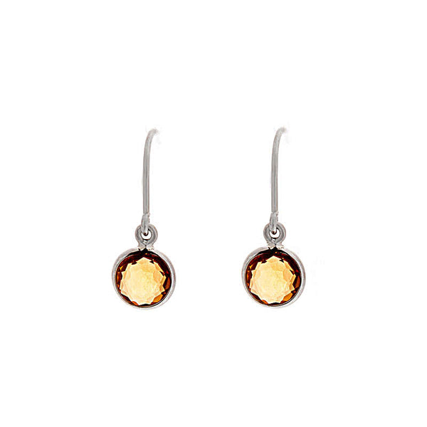 Como Collection 6mm Round Citrine Sterling Silver Earrings