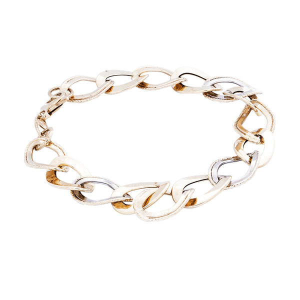 14 Karat Two-Tone Gold Polished and Textured Link Bracelet, 8 inch.