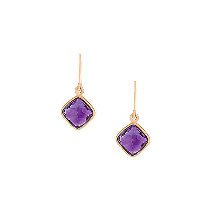 Como Collection 8mm Cushion Amethyst Earrings