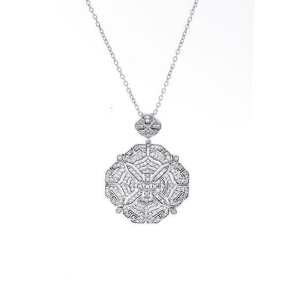 Diamond necklaces and pendants fey co vintage diamond octagon shape pendant mozeypictures Image collections