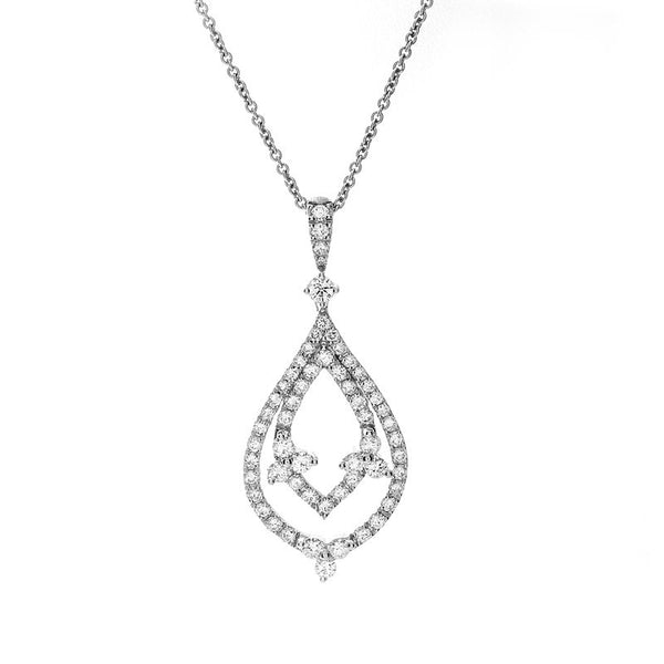 Diamond necklaces and pendants fey co vintage diamond double teardrop pendant mozeypictures Image collections
