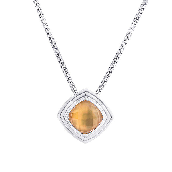 Pietra Collection Mother of Pearl and Citrine Pendant