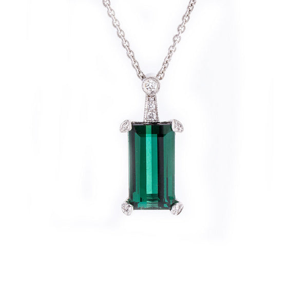 Giardino Collection Emerald Cut Green Tourmaline and Diamond Pendant