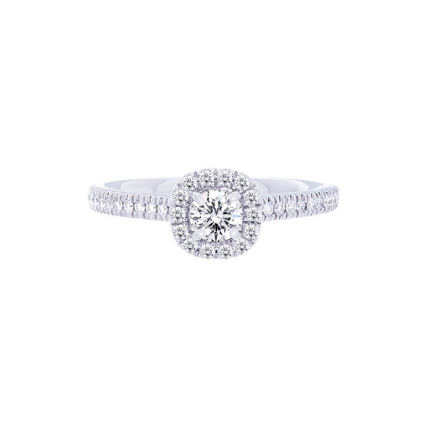 Forevermark Center of My Universe Cushion Halo Engagement Ring with Petite Diamond Band for 0.25ctw Center