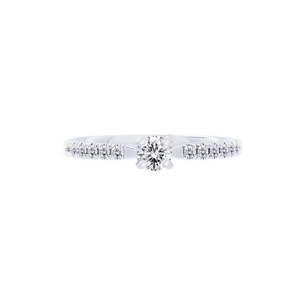 Forevermark Trellis Setting Engagement Ring with Diamond Band, 0.20 carat center