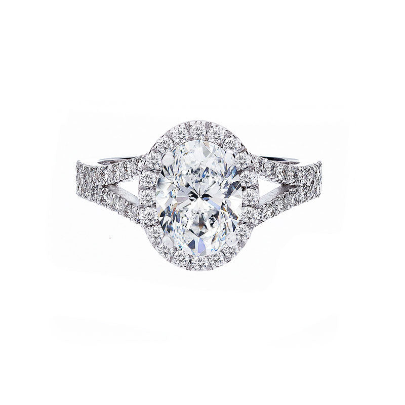 Forevermark Oval Halo Split Band Engagement Ring
