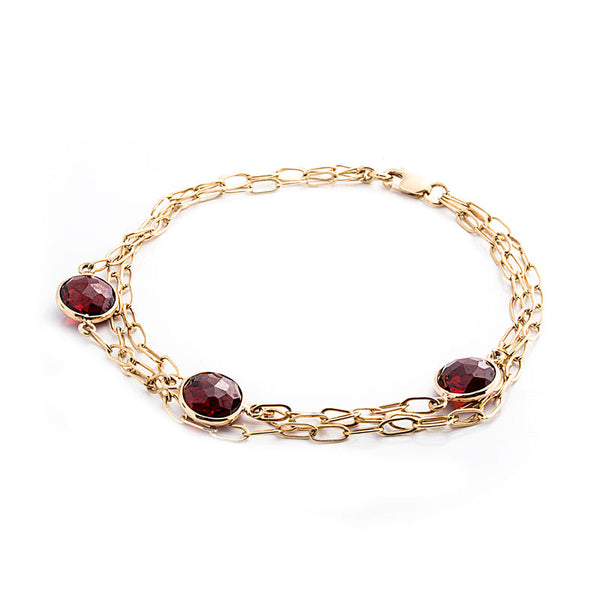 Como Collection 8mm Round Garnet 3 Strand Bracelet