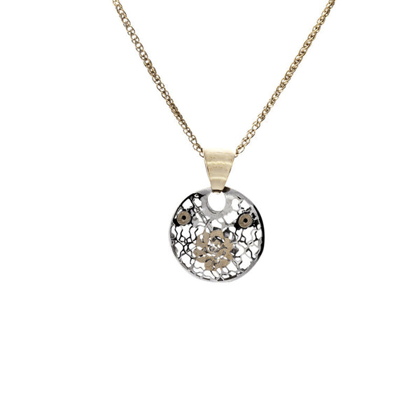 14 Karat Two-Tone Gold Small Rose Circle Disc Pendant