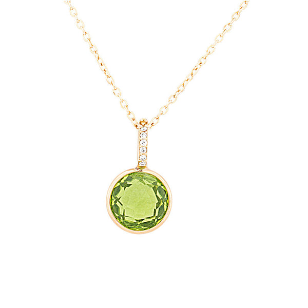 Como Collection 8mm Round Peridot with Diamond Pendant