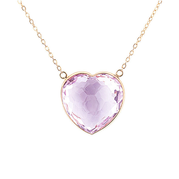 Como Collection 16mm Rose de France Amethyst Heart Pendant