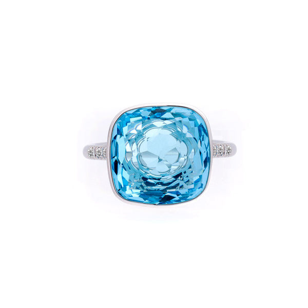 Como Collection 12mm Cushion Blue Topaz and Diamond Ring