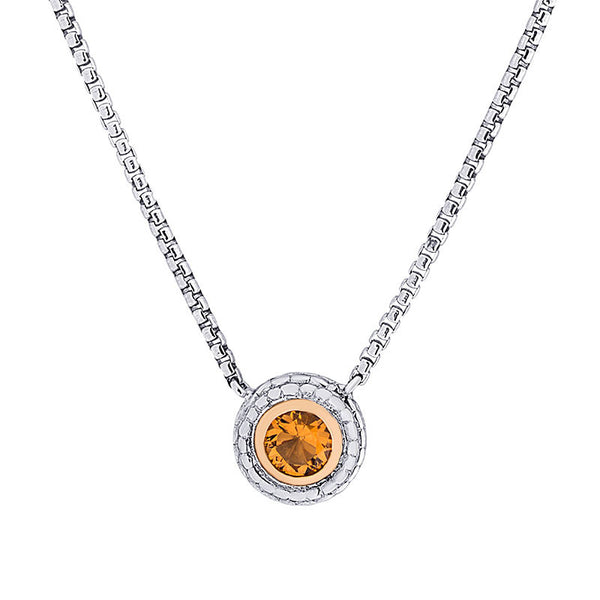 Pietra Collection Citrine Two-Tone Circle Pendant