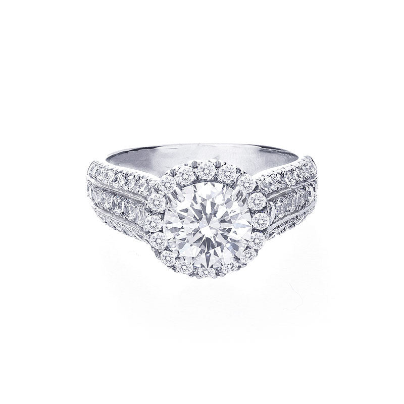 Round Diamond Halo 3 Row Tapered Engagement Ring