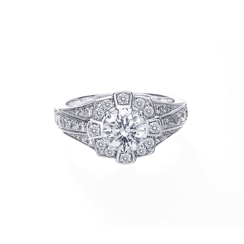 Vintage Round Halo Three-Row Tapered Band Engagement Ring