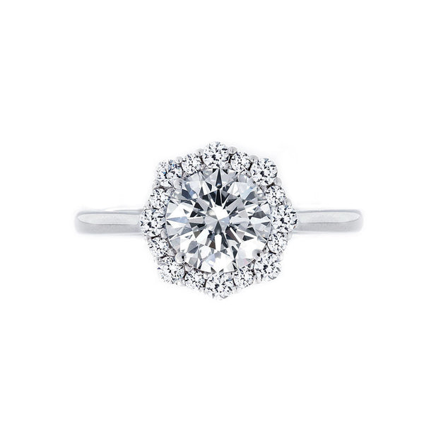 Alternating Diamond Halo Engagement Ring