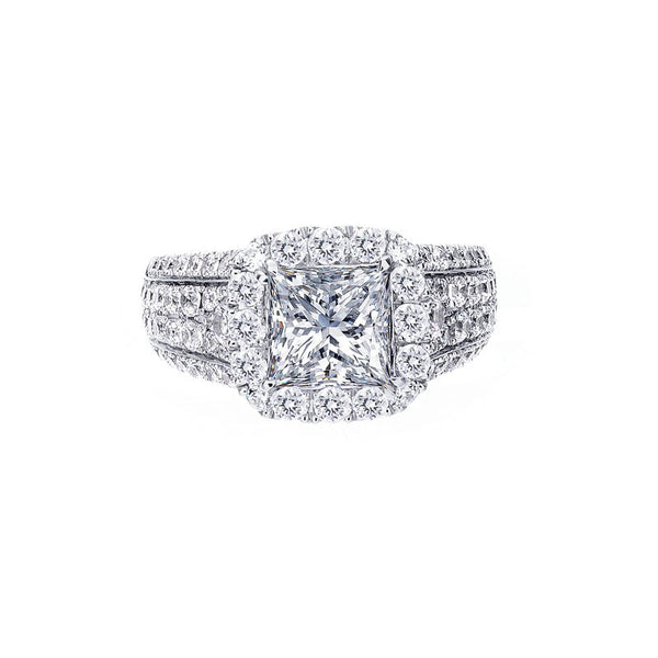 Cushion Halo and Multi-Row Pave Diamond Engagement Ring