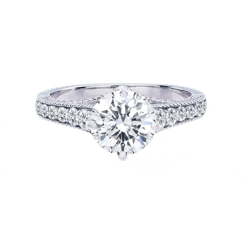 Vintage On Point Milgrain Tapered Band Engagement Ring