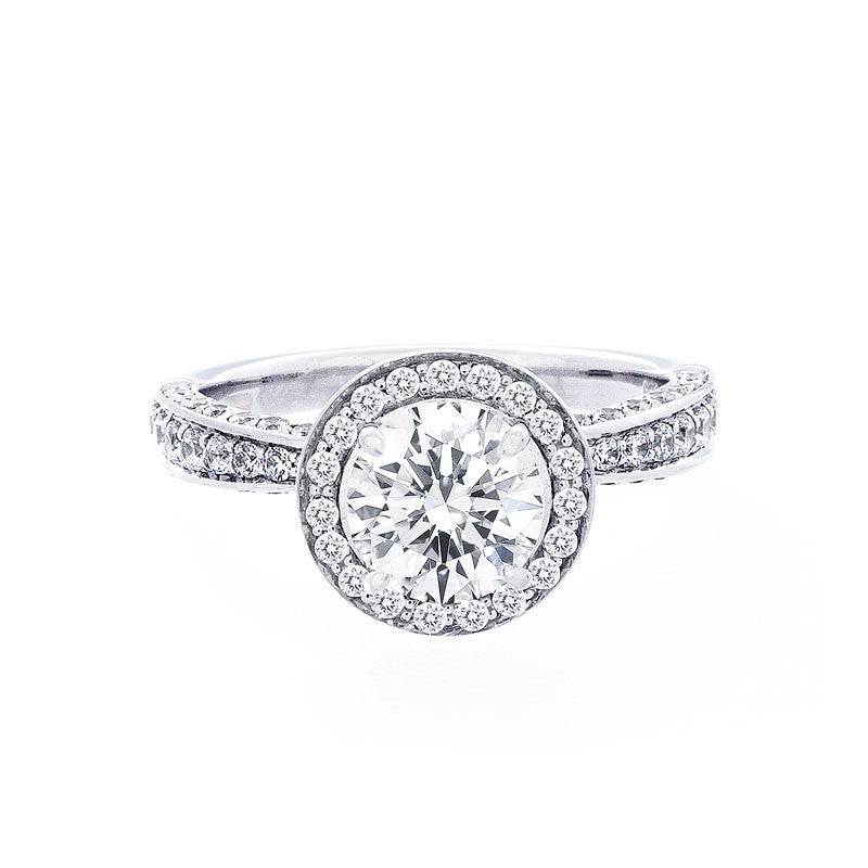Round Diamond Halo Engagement Ring with Graduating Pave Diamond Band