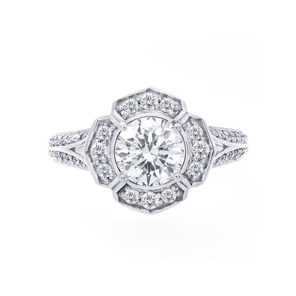 Vintage Halo Two-Row Split Band Engagement Ring