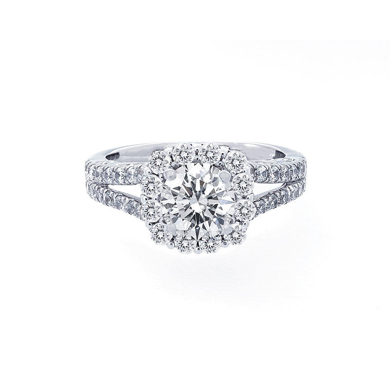 Cushion Diamond Halo Engagement Ring with a Split Band