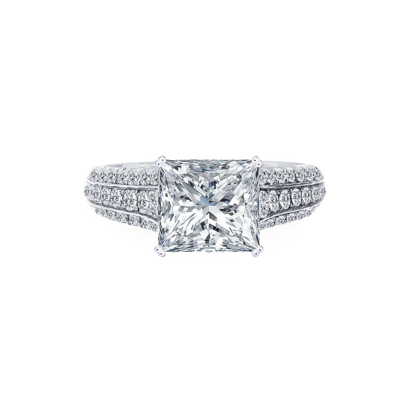 Princess Cut Center Diamond 3 Row Tapered Engagement Ring