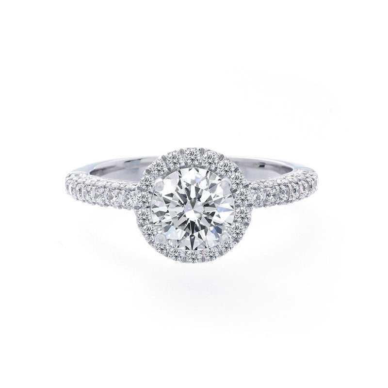 Round Diamond Halo Engagement Ring with Pave Band