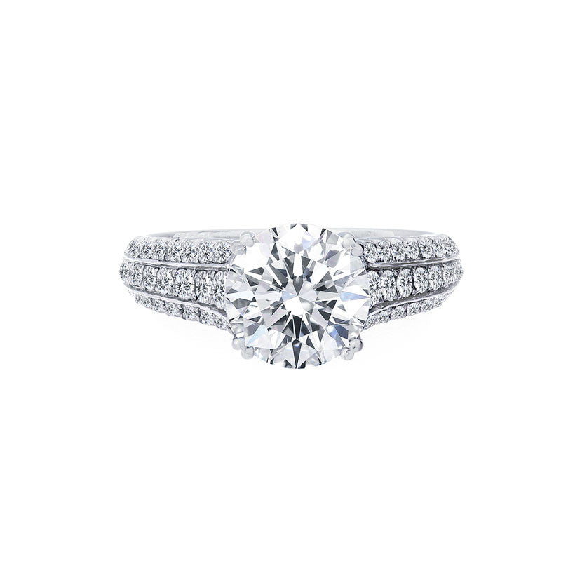 Diamond 3 Row Tapered Engagement Ring