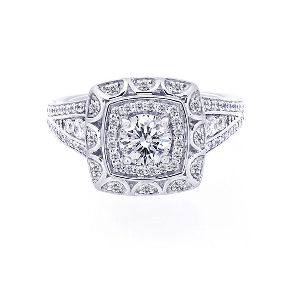 Vintage Two-Row Halo Split Band Engagement Ring