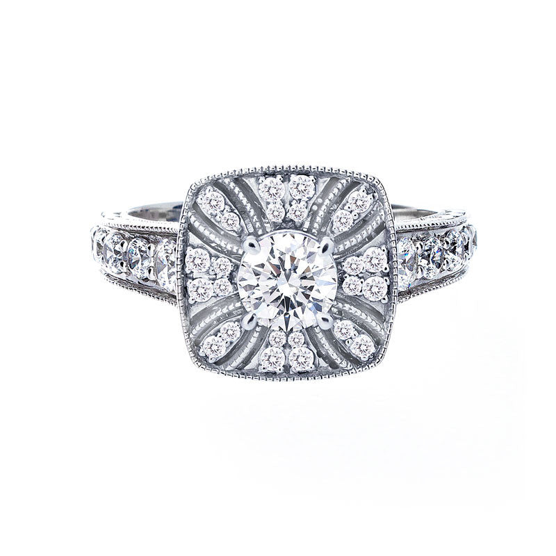 Vintage Diamond Halo with Milgrain Engagement Ring