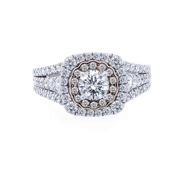 Double Diamond Halo with Three-Row Split Band Engagement Ring