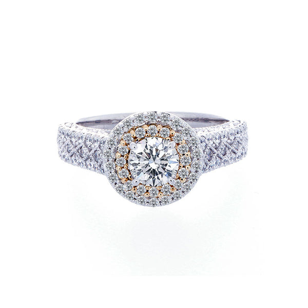 Vintage Double Halo with Bead Design Diaond Band Engagement Ring