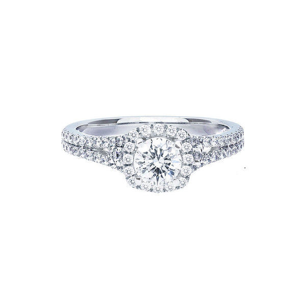 Petite Cushion halo Split Band Engagement Ring