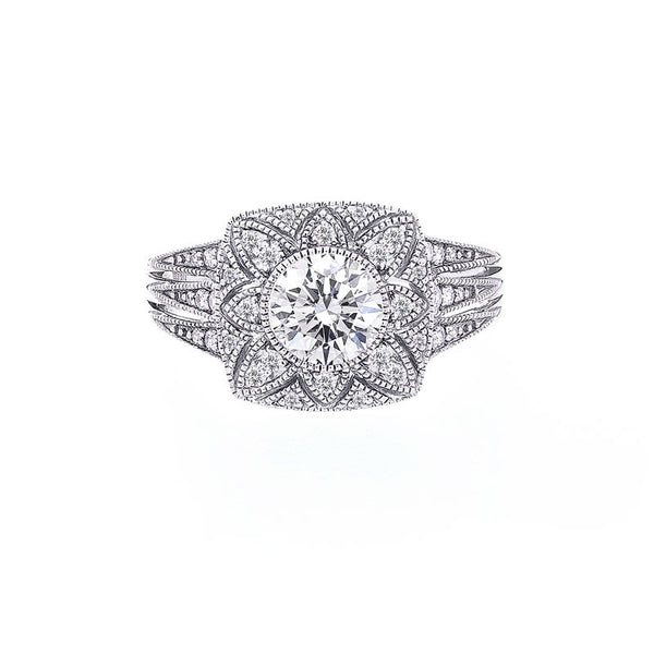 Vintage Flower Diamond Halo with Milgrain Engagement Ring
