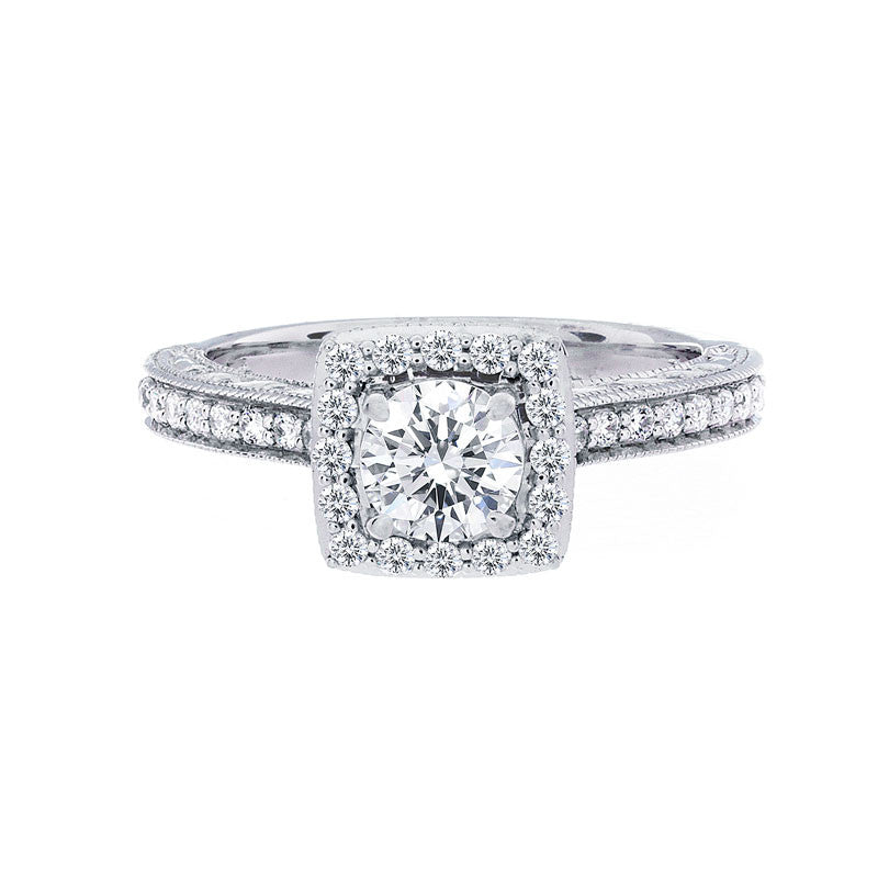 Vintage Square Diamond Halo with Milgrain Engagement Ring