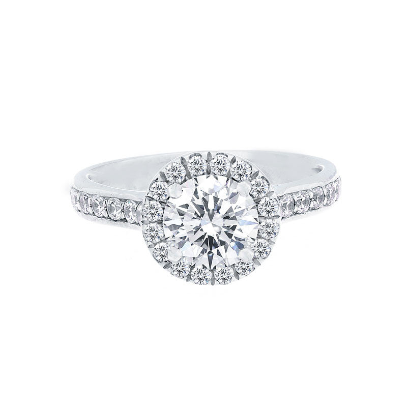 Round Diamond Halo Engagement Ring with Single Row Diamond Band