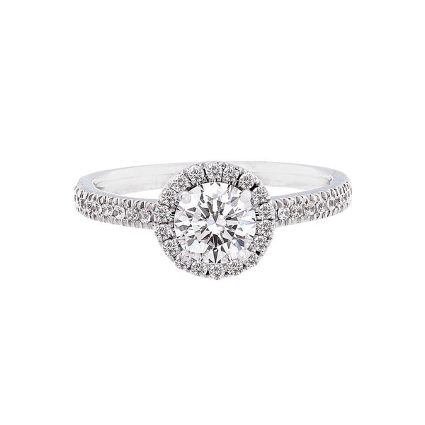 Round Diamond Halo Engagement Ring with Petite Diamond Band for 0.50ctw Center