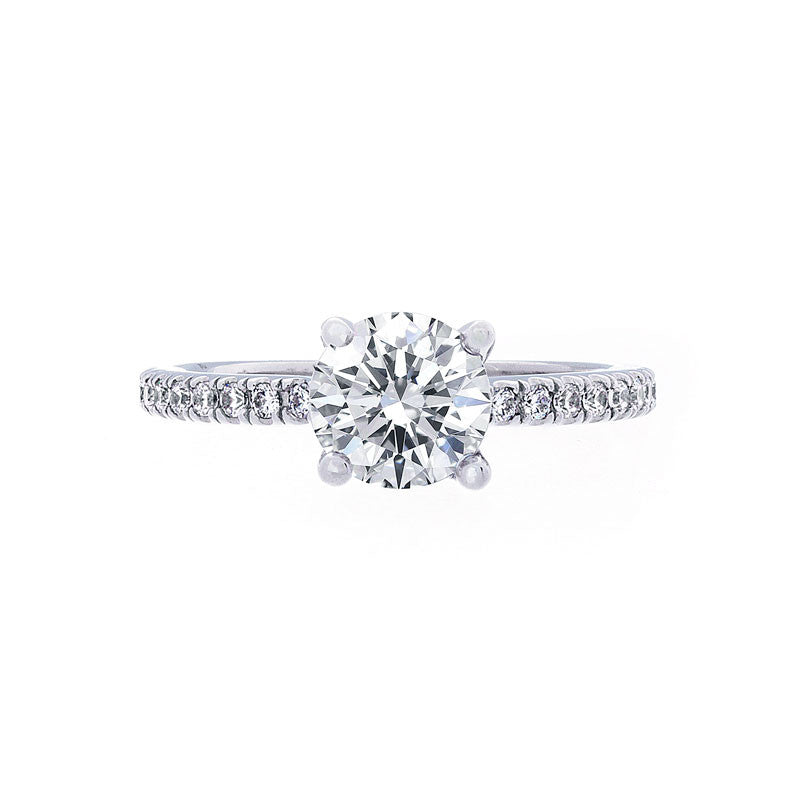 Trellis Setting Engagement Ring with a Diamond Band