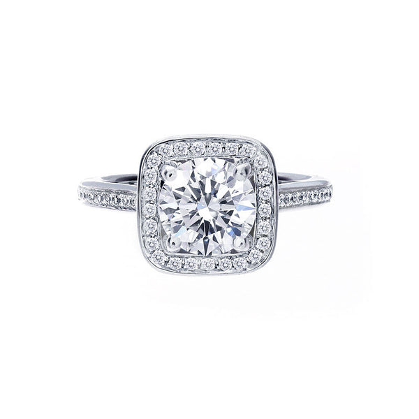 Cushion Diamond Halo Engagement Ring with Bead Set Band