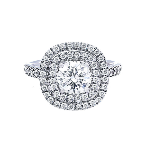Double Cushion Diamond Halo Engagement Ring