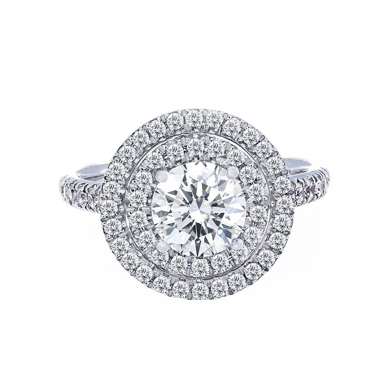 Double Round Halo Diamond Band Engagement Ring
