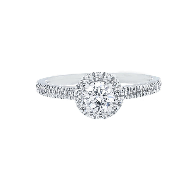 Round Diamond Halo Engagement Ring with Petite Diamond Band for 0.25ctw Center