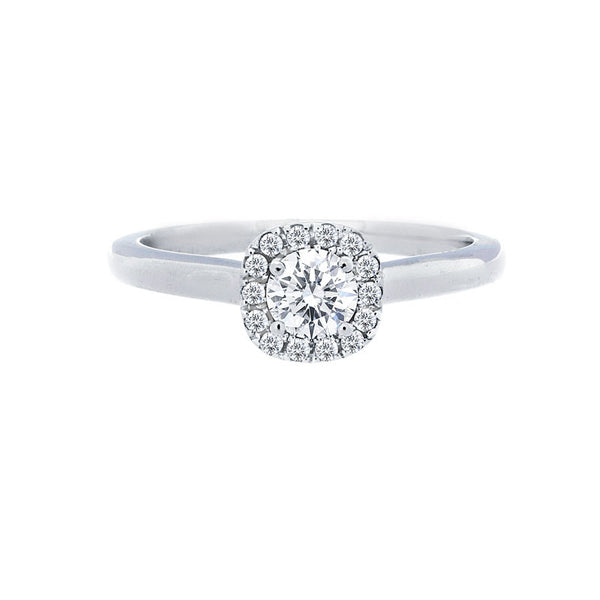 Cushion Diamond Halo Engagement Ring with Polished Band for 0.25ctw Center