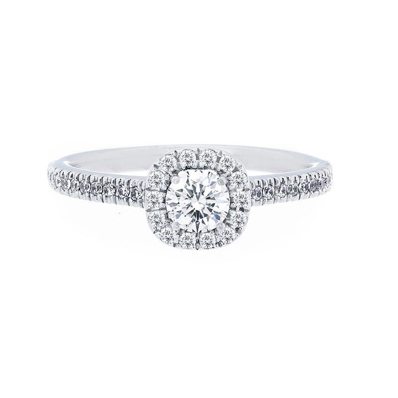 Cushion Diamond Halo Engagement Ring with Petite Diamond Band for 0.25ctw Center