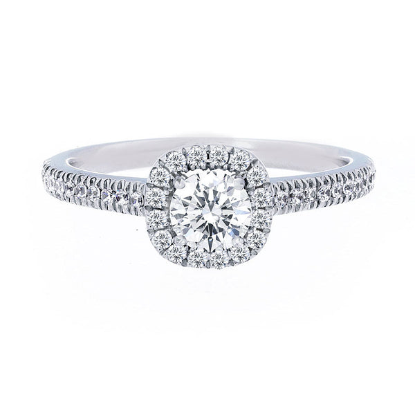 Cushion Diamond Halo Engagement Ring with Petite Diamond Band for 0.35ctw Center