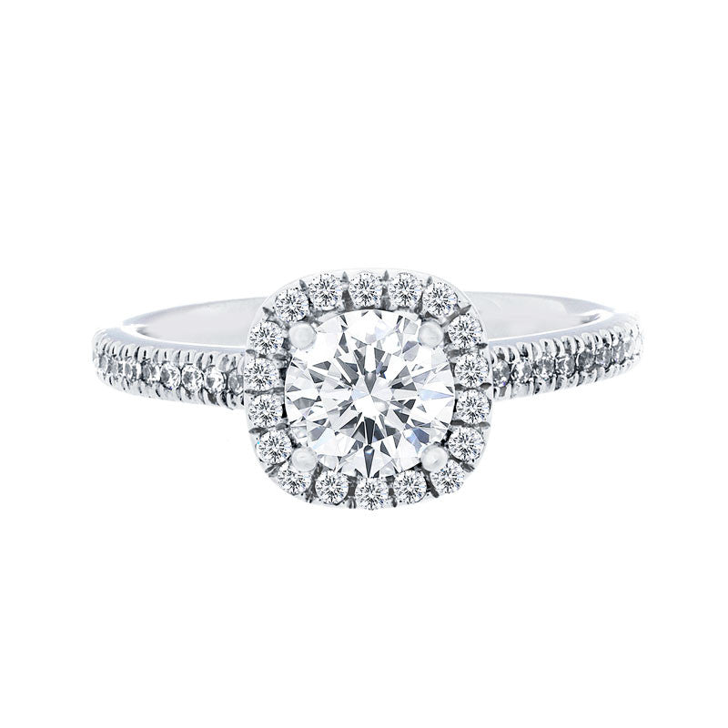 Cushion Diamond Halo Engagement Ring with Petite Diamond Band for 0.50ctw Center