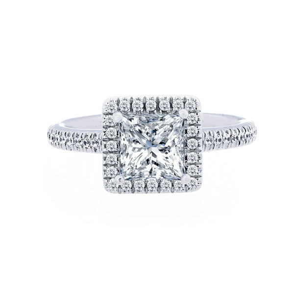 Princess Diamond Halo Engagement Ring with Petite Diamond Band for 1.00ctw Center