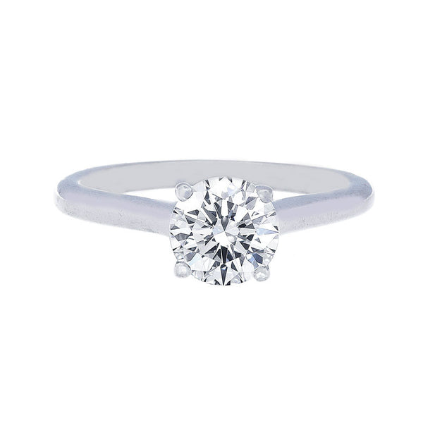 Classic 4 Prong Engagement Ring with Diamonds on the Profile