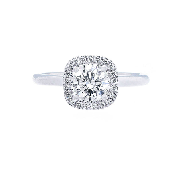 Cushion Diamond Halo Engagement Ring with Polished Band for 1.00ctw Center
