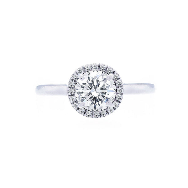 Round Diamond Halo Engagement Ring with Polished Band for 1.00ctw Center